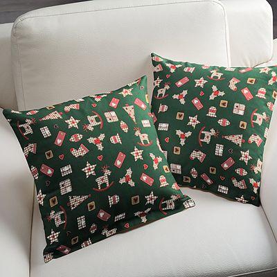 it 39 s christmas 2 baumwolle dunkelgr n individuelle kissenbez ge ganz einfach selbst. Black Bedroom Furniture Sets. Home Design Ideas