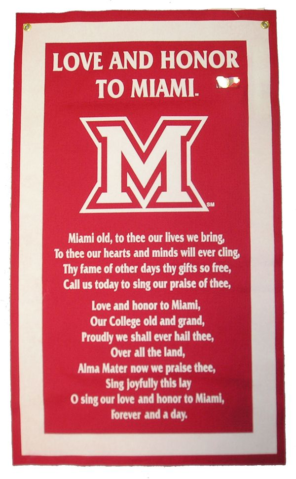 Collegiate Specific Miami University Song Felt Flag