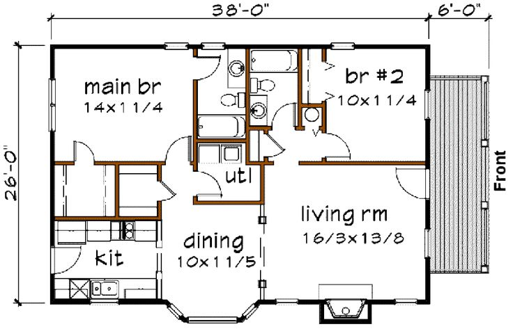 Cottage Style House Plan – 2 Beds 2 Baths 1002 Sq/…