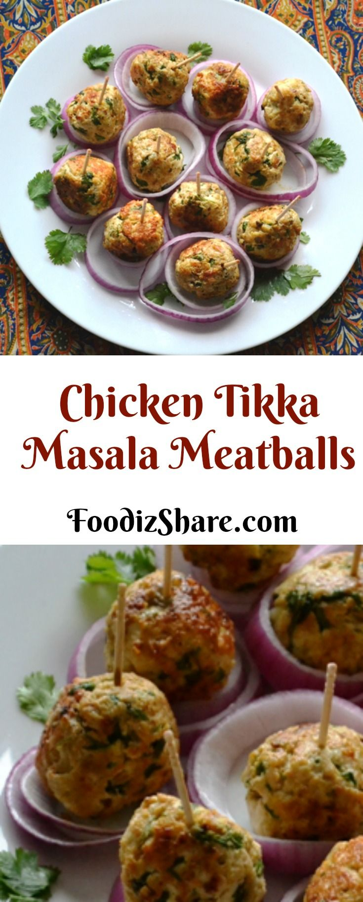 These chicken tikka masala flavored meatballs make a terrific appetizer. #recipes #food  #appetizer