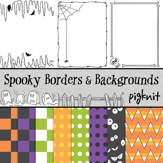 Spooky Clip Art Halloween Borders Skeleton Clip Art by pigknit, $3.00