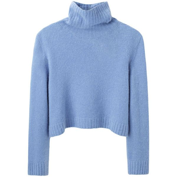 The Row Nenette Top ($345) ❤ liked on Polyvore featuring tops, sweaters, jumpers, shirts, blue crop top, blue turtleneck sweater, crop shirts, cropped turtleneck sweater and boxy crop top