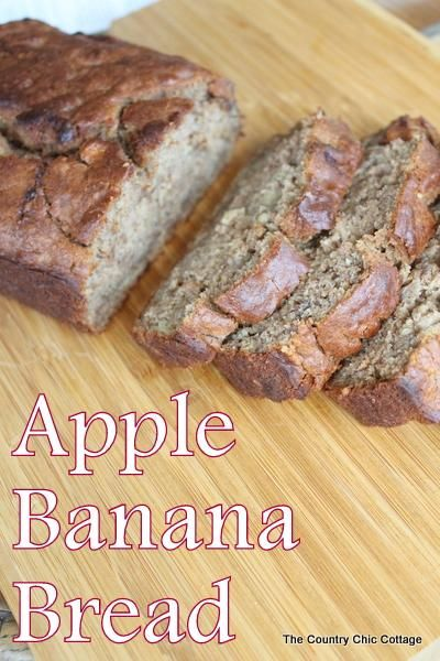 Apple #Banana Bread via The Country Chic Cottage blog  // Add a little something to your basic #bananabread with this apple banana bread #recipe!  One pinner says....absolutely the best banana bread I have ever had!