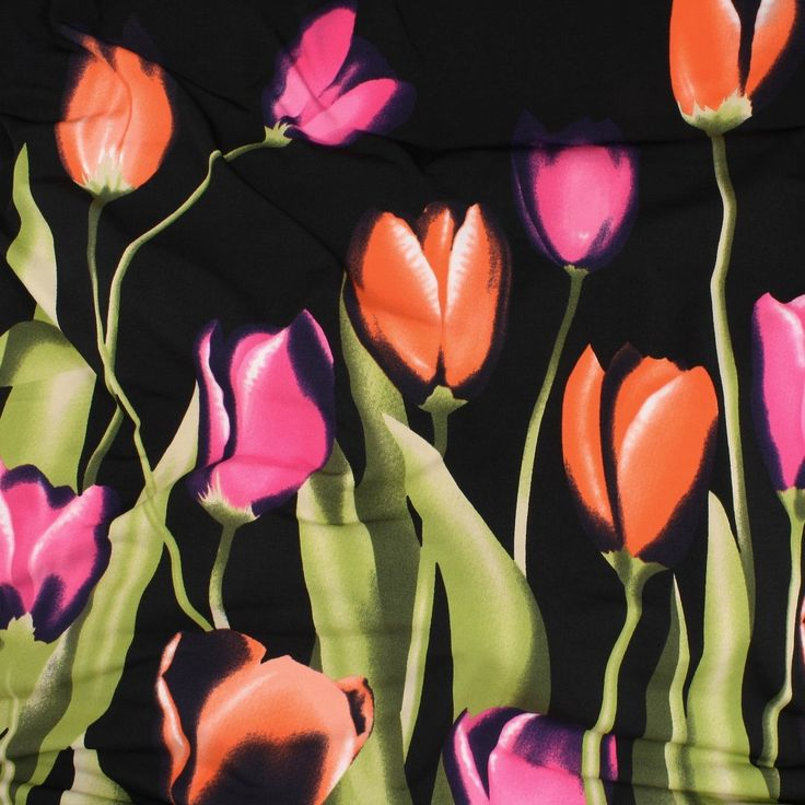 ITY Knit Jersey 1 Metre Panel - Pink/Orange Tulips - Distinctive Sewing Supplies