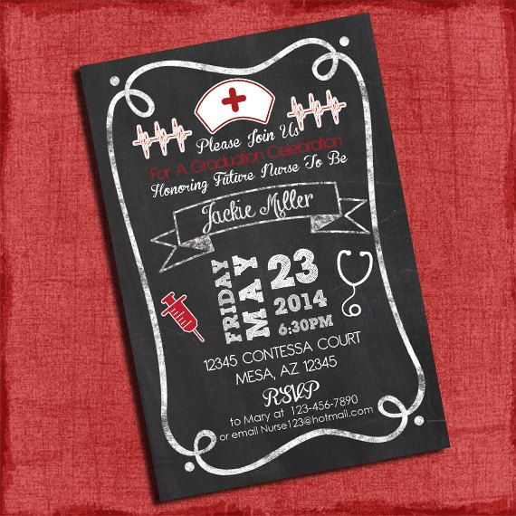 Nurses Decorations Nurse Style Nurse Humor Nurses: Nurse Graduation Party Invitation Chalkboard Style 4x6 Or