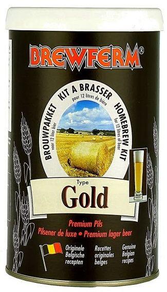 Brewferm Gold  Bere de lux in stil pils, potoleste setea pe loc. Gust bogat si o amareala placuta.  Ingrediente: Extract de malt cu hamei Drojdie speciala Brewferm  Greutate kit - 1.5 kg Pentru 12 litri de bere ABV - aprox. 5.5% Densitate la inceput - 1053 Durata de fermentare - 7 zile Durata conditionare la sticla - 2 saptamani