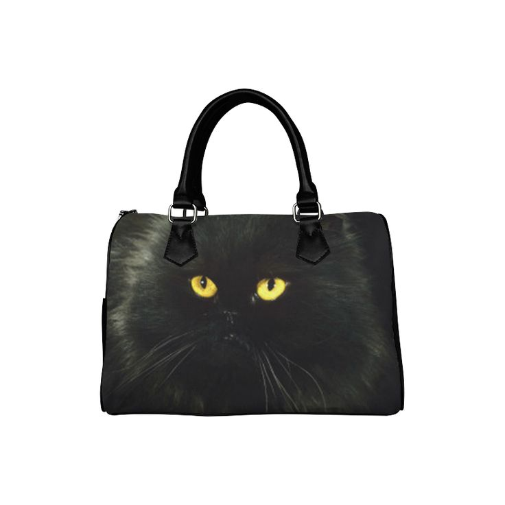 Black Cat Boston Handbag (Model 1621)