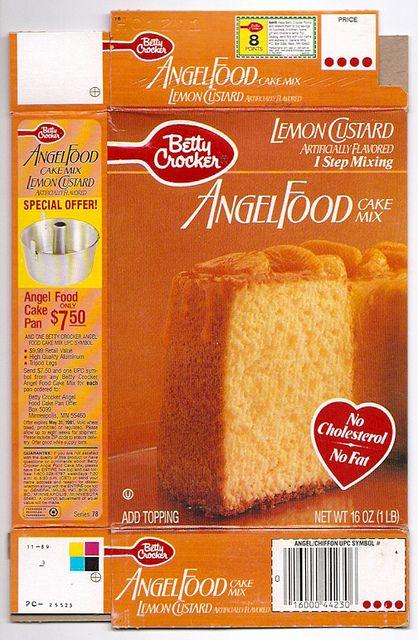 1989 General Mills Betty Crocker Lemon Custard Angel Food Cake Mix Box | Flickr - Photo Sharing!