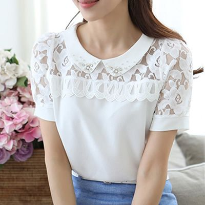 Ahueca hacia fuera del cordón del ganchillo blusa Collar de la muñeca blanca camisa de gasa de encaje blusa manga corta con cuentas Summer Tops camisas femeninas