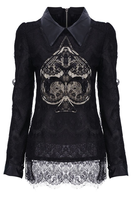 Sequins Embellished Spade-shaped Black Lace Blouse: Street Fashion, Blouses Black On Size, Black Lace, Poker Patterns, Patterns Lace, Lace Blouses Black On, Spade Shap Lace, Sequins Spade Shap, Fashion Goth A Billy Confusion