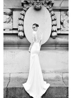 Modern Chic V Neck Sweep Train Trumpet Mermaid Wedding Dress