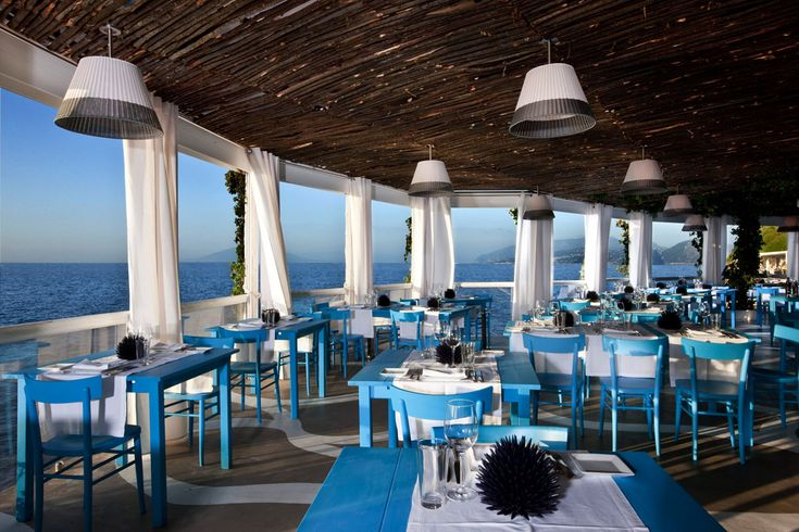 Dining room cool restaurant with blue chairs and tables for Restaurants with balcony