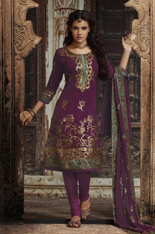 Purple Gold And Teal Salwar Kameez Inspiring India