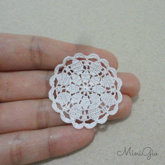 Miniature crochet round doily 1.4 inches, dollhouse crochet tablecloth, 1:12 dollhouse miniature, white small doily, micro crochet by MiniGio