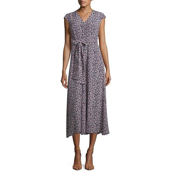 Weekend Max Mara Floral Midi Dress ($575) ❤ liked on Polyvore featuring dresses, avio, cap sleeve midi dress, purple dresses, purple midi dress, midi dress and silk dress