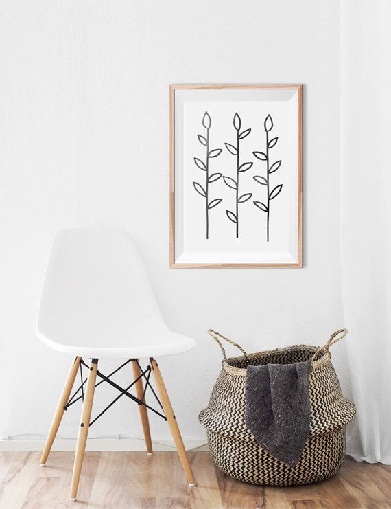 Gallery Wall Decor Modern Plant Art Black and by CaroCaroPrints