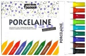 Pebeo Porcelaine 150 Bullet Tip Markers - You can write on plates and dishes with them, bake the item and it stays on. Like the 'permanent marker and plate' thing going around on Pinterest, only this works, that doesn't.