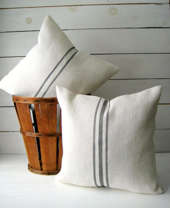 Burlap Pillow Set / Grainsack Throw / Cottage by HomesteadBurlaps, $52.00
