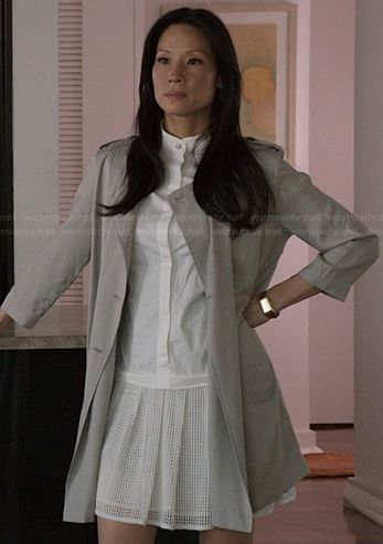 Joan's white drop waist dress on Elementary.  Outfit Details: http://wornontv.net/22631/ #Elementary