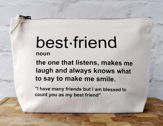 Best Friend Birthday Gift, Best Friend Toiletry Bag, Best Friend Gift Bag, Friend Definition Quote, Friend Definition Gift, Best Friend Gift. affiliate