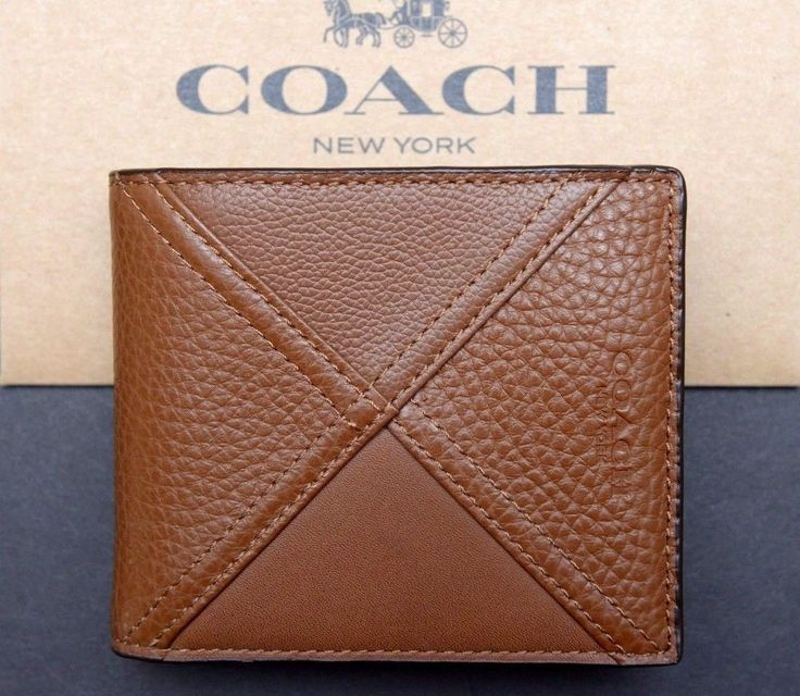 NWT Coach Mens $195 DK Saddle S 3IN1 Patchwork Leather ID Billfold Wallet F56599