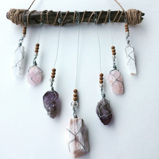 Crystal Mobile: Gypsum, Rose Quartz, Amethyst, Selenite, Sandalwood. -- This crystal mobile is perfect for your bedroom, transforming it into your peaceful, dreamy, sacred sleeping space.