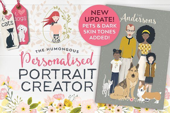 Personalised Portrait Creator by Lisa Glanz. Create unique, hand drawn custom portraits that will wow your clients, impress your family and friends and even jazz-up your blog.
