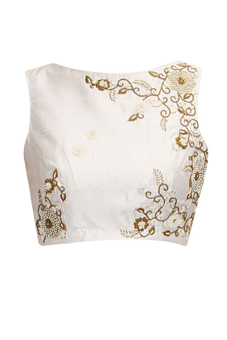 Ivory floarl embroidered crop top by Tisha Saksena.       Shop now:  http://www.perniaspopupshop.com/designers/tisha-saksena  #shopnow #perniaspopupshop #tishasaksena