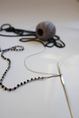 How to crochet with beads, use this when making a New Year's Resolution bracelet.  Maybe you could make one using this method of crocheting with beads. - See more at: http://www.knittedbliss.com/#sthash.wtrMtk2M.dpuf