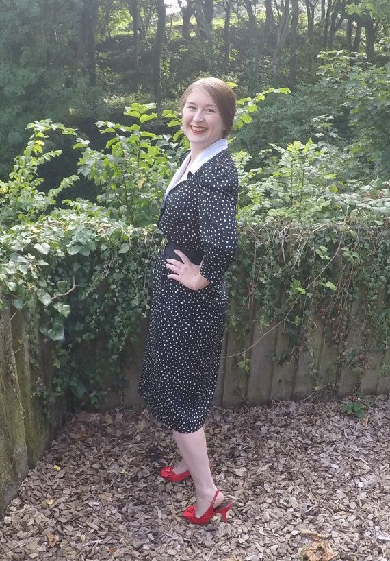 vintage 80s Forties style polka dot dress by TheHouseOfTrolls