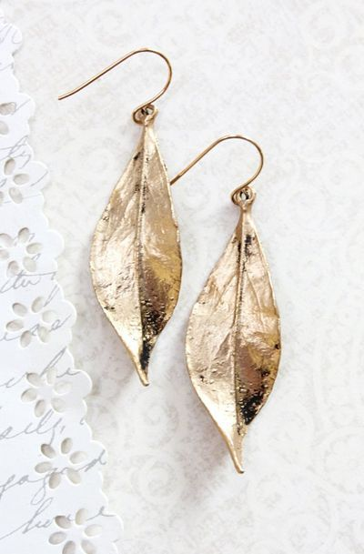Long Gold Leaf Earrings Woodland Jewellery