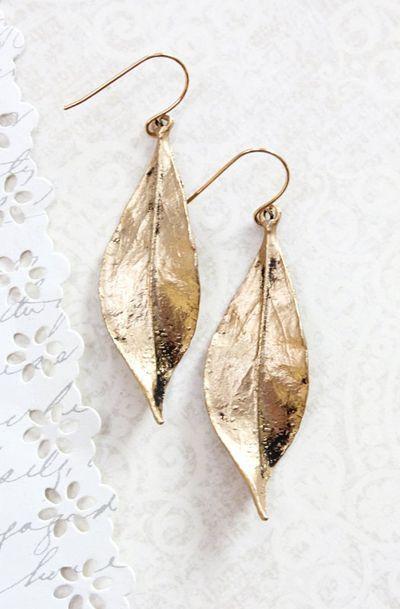 Long Gold Leaf Earrings Woodland Jewellery