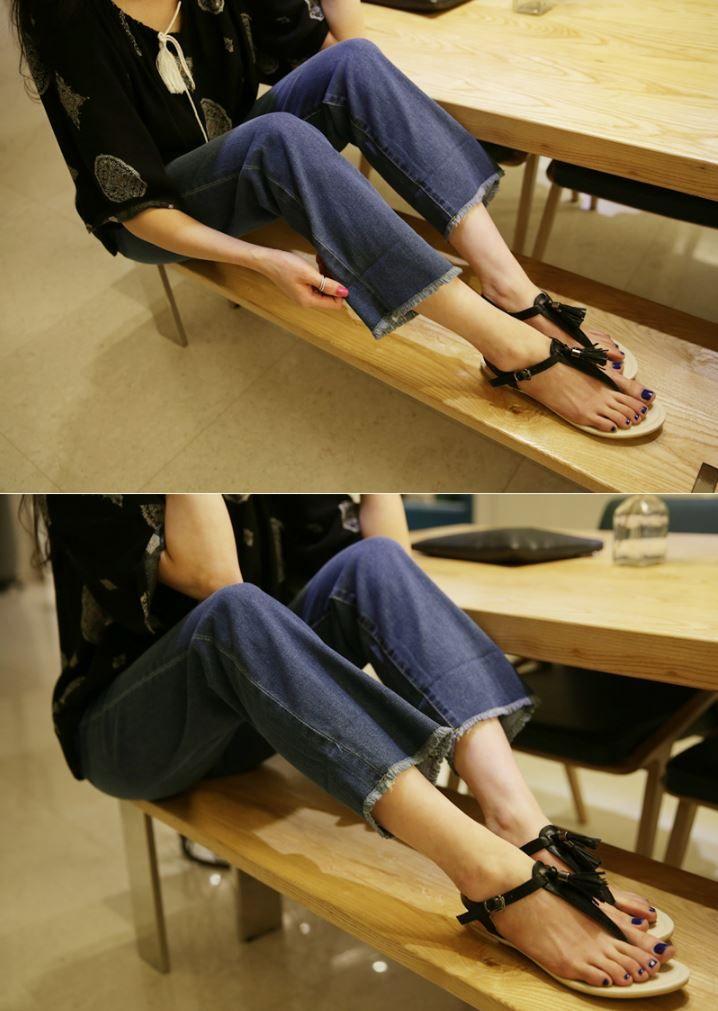 Dress Up Confidence! 66girls.us T-Strap Tassel Accent Sandals (DICG) #66girls #kstyle #kfashion #koreanfashion #girlsfashion #teenagegirls #younggirlsfashion #fashionablegirls #dailyoutfit #trendylook #globalshopping
