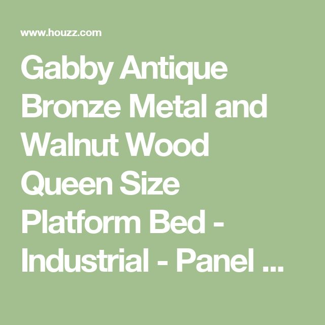 Gabby Antique Bronze Metal and Walnut Wood Queen Size Platform Bed - Industrial - Panel Beds - by Baxton Studio