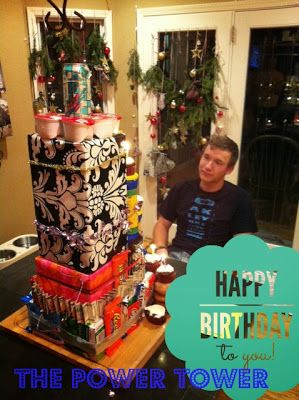 Teenage Birthday Gift Tower Instead of Just Cake - Is your teen hard to surprise? Try this! He /she will love it!