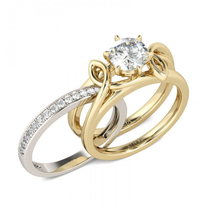 Jeulia Interchangeable Two Tone  Round Cut Created White Sapphire Wedding Set -Jeulia Jewelry