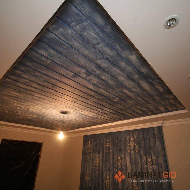 Оригинальный ламинат на потолок для интерьера в «деревенском» стиле
