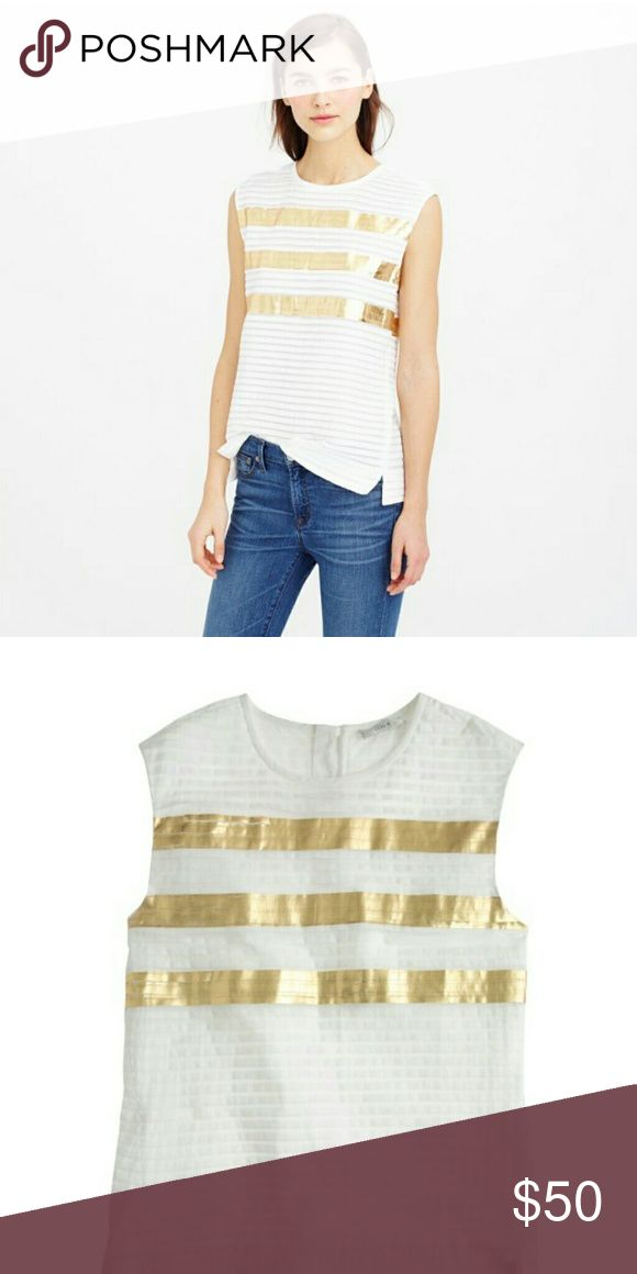 🆕NWT J. CREW COLLECTION TOP * HORIZONTAL PLEATED  * METALLIC GOLD STRIPES * GOLD ZIPPER IN THE BACK * BOXY LOOSE FIT  * SIZE 6 - SMALL BASED ON J. CREW SIZE CHART, BUT RUNS BIG  * ORIG. PRICE 158.00 J. Crew Tops
