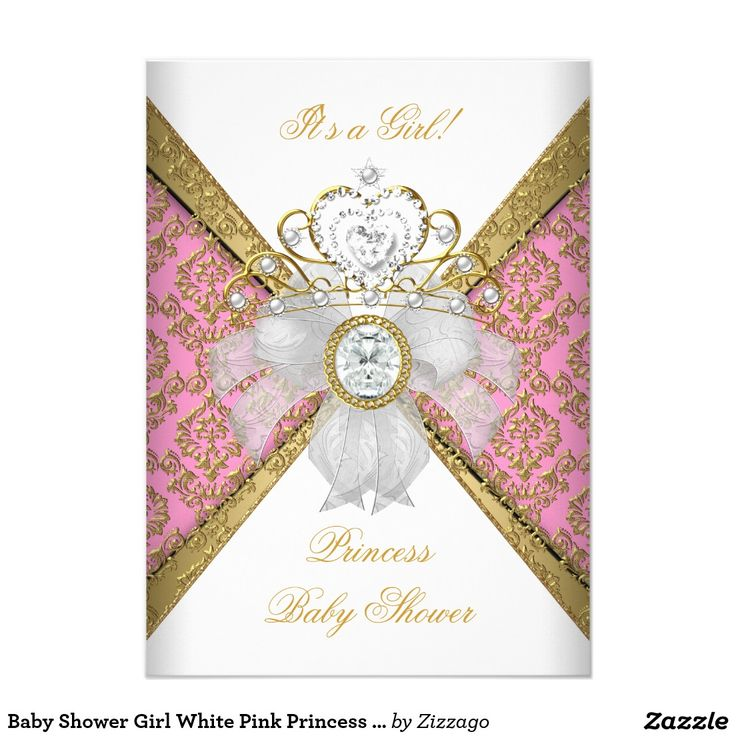 118 best cards zazzle images on pinterest baby shower invitations baby shower girl white pink princess damask 45x625 paper invitation card stopboris Image collections