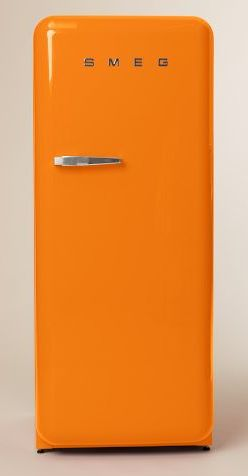 POP!!!  I LOVE the color of this fridge!  Warning - don't go matchy matchy with the same bright colors in a tiny house.  If I were to buy this fridge, which I can't because it costs $1,999, I might buy one small orange chair for the living room to tie it into that area.  Right now I would lean towards a pop of turquoise as a contrasting color somewhere else in the house too.  Sadly, I will have to find another way to incorporate this bright orange into my tiny house, this fridge is way past…