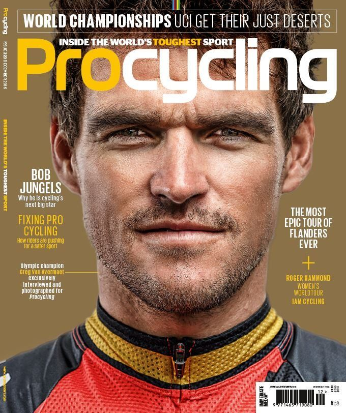 """In this Issue:  FREE 2017 Calendar  Greg Van Avermaet: Golden year """" Winning the Olympics is the biggest thing that ever happened to me""""  The most epic tours of Flanders ever  Bob Jungles: Why he is cycling's next big star  Fixing pro cycling: How riders are pushing for a safer sport  World championships: UCI get their just deserts"""