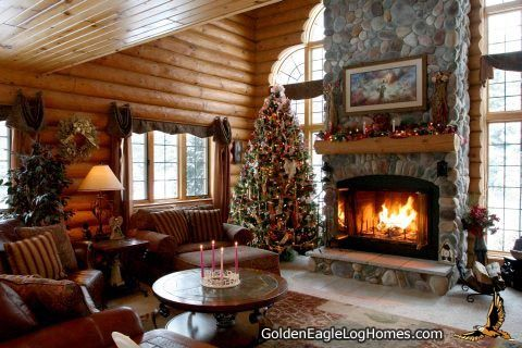 A Stone Fireplace For Holiday Warmth In A Golden Eagle Log Home
