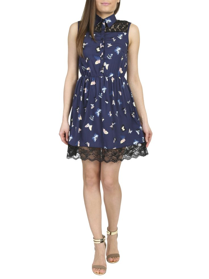 Lucy Lace Detail Button Front Shirt Dress – Navy Butterfly Print | The Design House