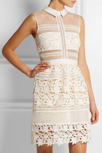 05bd08dac71 Self-Portrait Graciella paneled floral-lace and mesh mini dress for  640  available at Net-A-Porter  luxury  vegetarian  dress  …