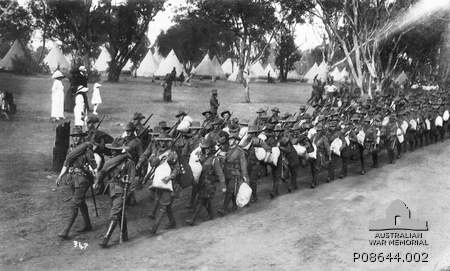 Marching out from Blackboy Hill for embarkation, November 1914