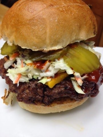 Dallas Burger from Bobby Flay recipe for bar bq sauce and burger..........looks good...uses my hand mixer. : )