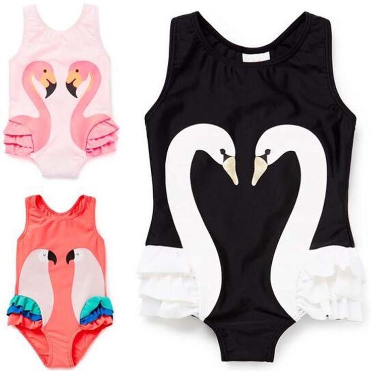 (29.99$)  Watch now  - 2017 summer Swimsuit Girls fashion black/Pink swan flamingo parrot pattern Girls Swimwear Sports Bodysuit Beachwear kids