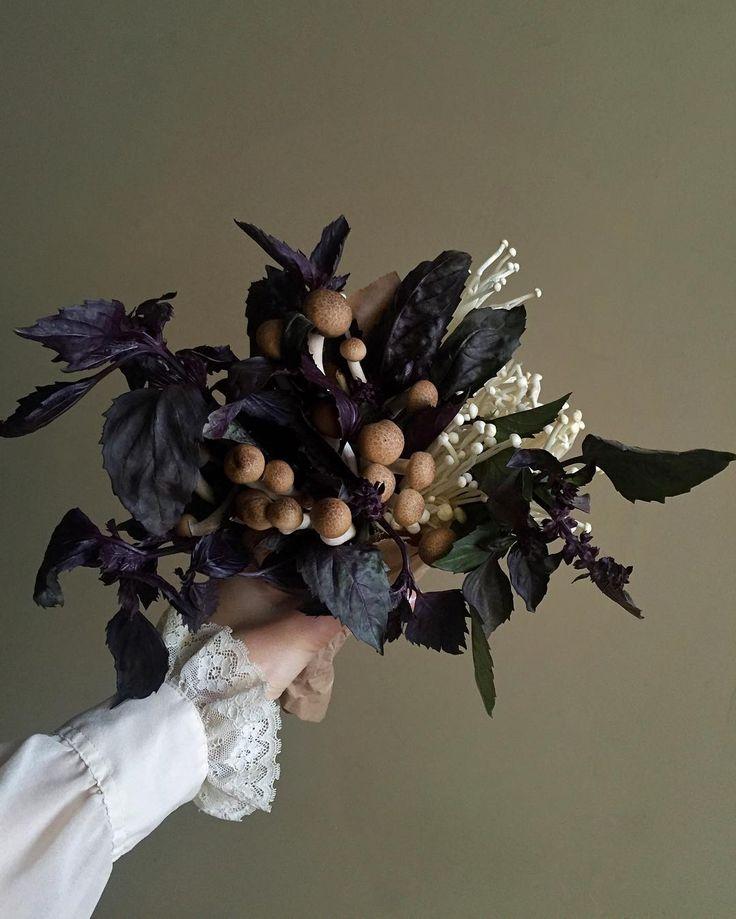 Purple basil and mushroom bouquet. All edible. #sickofmymushroombouquetsyet