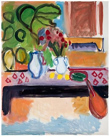 Robert De Niro, Sr.    Table Still Life with Red Vases, Fan and Bowl, 1968