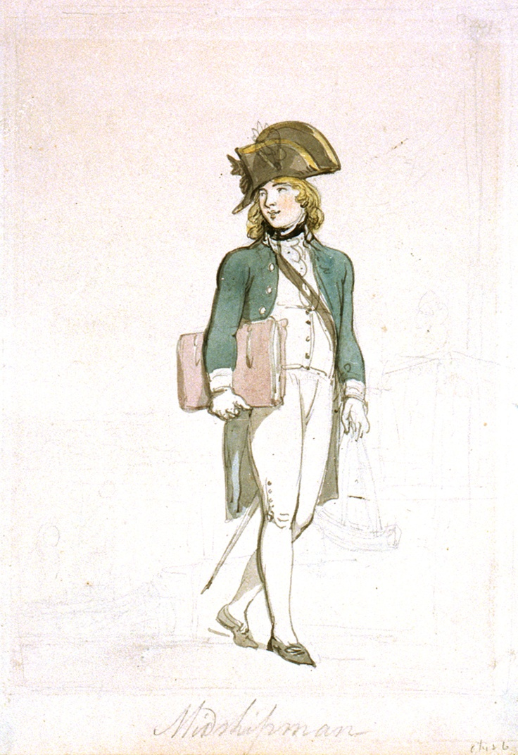 William Price.  By Sir Thomas' description 'a young man of an open, pleasant countenance, and frank, unstudied, but feeling and respectful manners' (MP ch24). Midshipman by Thomas Rowlandson.